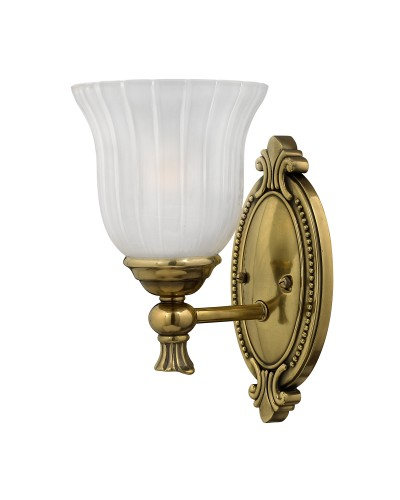 Elstead Lighting Hinkley Francoise Solid Brass 1 Light Bathroom Wall Light In Burnished Brass Finish With Frosted Ribbed Glass (IP44)