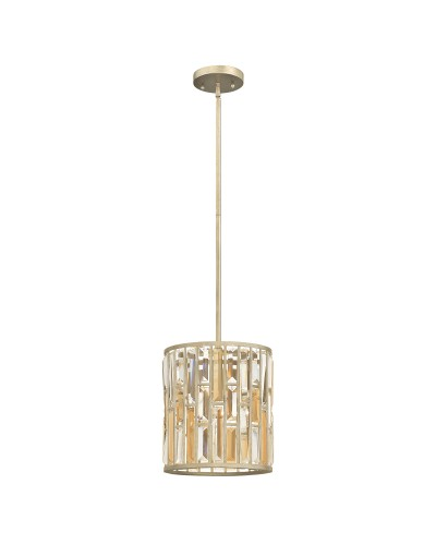 Elstead Lighting Hinkley Gemma 1 Light Crystal Mini Pendant In Silver Leaf Finish With Height Adjustable Rods
