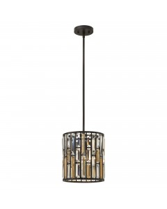 Elstead Lighting Hinkley Gemma 1 Light Crystal Mini Pendant In Vintage Bronze Finish With Height Adjustable Rods