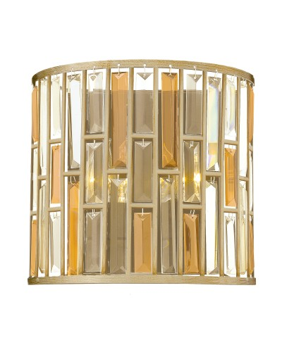 Elstead Lighting Hinkley Gemma 2 Light Crystal Wall Light In Silver Leaf Finish
