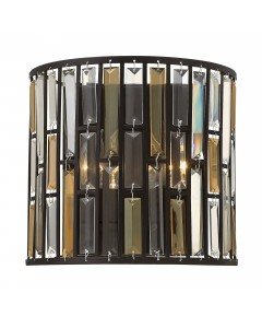 Elstead Lighting Hinkley Gemma 2 Light Crystal Wall Light In Vintage Bronze Finish