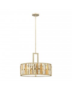 Elstead Lighting Hinkley Gemma 3 Light Crystal Pendant In Silver Leaf Finish With Height Adjustable Rods
