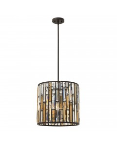 Elstead Lighting Hinkley Gemma 3 Light Crystal Pendant In Vintage Bronze Finish With Height Adjustable Rods
