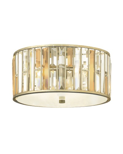 Elstead Lighting Hinkley Gemma 3 Light Flush Crystal Ceiling Light In Silver Leaf Finish