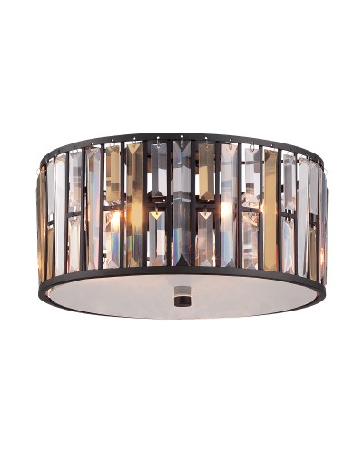 Elstead Lighting Hinkley Gemma 3 Light Flush Crystal Ceiling Light In Vintage Bronze Finish