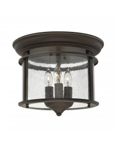 Elstead Lighting Hinkley Gentry 3 Light Flush Mounted Ceiling Light In Olde Bronze Finish With Clear Seedy Glass Panels