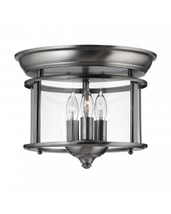 Elstead Lighting Hinkley Gentry 3 Light Flush Mounted Ceiling Light In Pewter Finish With Clear Glass Panels