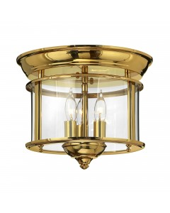 Elstead Lighting Hinkley Gentry 3 Light Flush Mounted Ceiling Light In Polished Solid Brass With Clear Glass Panels