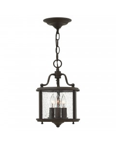 Elstead Lighting Hinkley Gentry 3 Light Small Pendant In Olde Bronze Finish With Clear Seedy Glass Panels