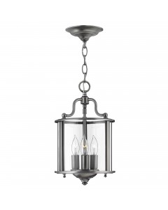 Elstead Lighting Hinkley Gentry 3 Light Small Pendant In Pewter Finish With Clear Glass Panels