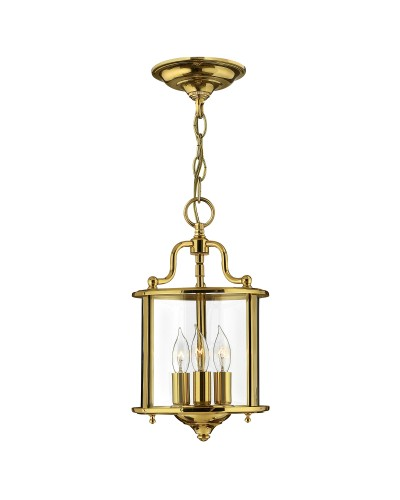 Elstead Lighting Hinkley Gentry 3 Light Small Pendant In Polished Solid Brass With Clear Glass Panels