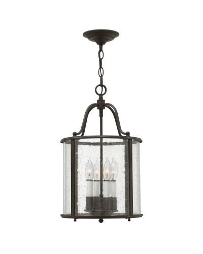 Elstead Lighting Hinkley Gentry 4 Light Medium Pendant In Olde Bronze Finish With Clear Seedy Glass Panels