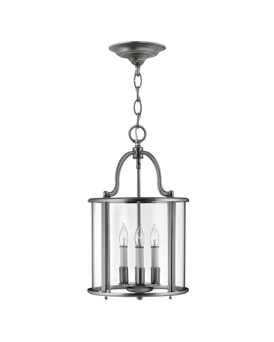 Elstead Lighting Hinkley Gentry 4 Light Medium Pendant In Pewter Finish With Clear Glass Panels