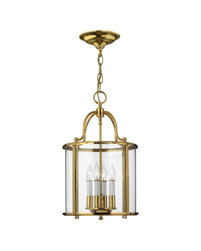 Elstead Lighting Hinkley Gentry 4 Light Medium Pendant In Polished Solid Brass With Clear Glass Panels