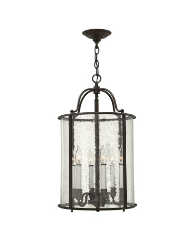 Elstead Lighting Hinkley Gentry 6 Light Large Pendant In Olde Bronze Finish With Clear Seedy Glass Panels