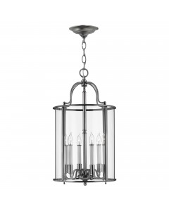 Elstead Lighting Hinkley Gentry 6 Light Large Pendant In Pewter Finish With Clear Glass Panels