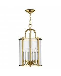 Elstead Lighting Hinkley Gentry 6 Light Large Pendant In Polished Solid Brass With Clear Glass Panels