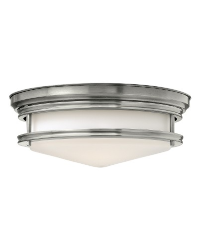 Elstead Lighting Hinkley Hadley 3 Light Flush Ceiling Light In Antique Nickel Finish