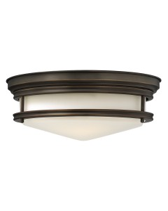 Elstead Lighting Hinkley Hadley 3 Light Flush Ceiling Light In Oil Rubbed Bronze Finish