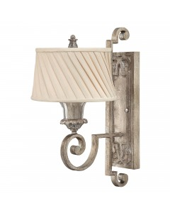 Elstead Lighting Hinkley Kingsley 1 Light Wall Light In Silver Leaf Finish With Dark Ivory Pleated Shade