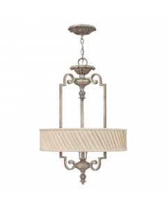 Elstead Lighting Hinkley Kingsley 3 Light Pendant In Silver Leaf Finish With Dark Ivory Pleated Shade