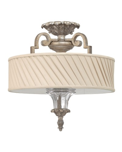 Elstead Lighting Hinkley Kingsley 3 Light Semi Flush Ceiling Light In Silver Leaf Finish With Dark Ivory Pleated Shade