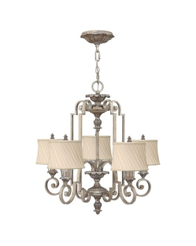Elstead Lighting Hinkley Kingsley 5 Light Chandelier In Silver Leaf Finish With Dark Ivory Pleated Shades