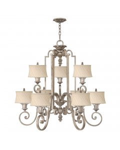 Elstead Lighting Hinkley Kingsley 9 Light Chandelier In Silver Leaf Finish With Dark Ivory Pleated Shades
