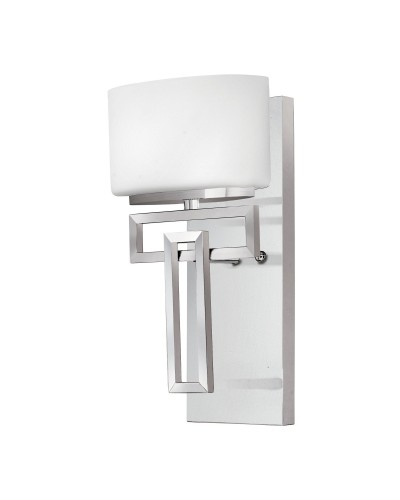 Elstead Lighting Hinkley Lanza 1 Light Bathroom Wall Light In Polished Chrome Finish With Opal Glass Shade (IP44)