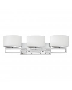Elstead Lighting Hinkley Lanza 3 Light Above Mirror Bathroom Wall Light In Polished Chrome Finish With Opal Glass Shades (IP44)