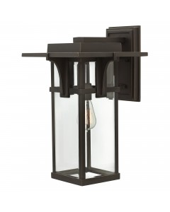 Elstead Lighting Hinkley Manhattan 1 Light Outdoor Large Wall Lantern In Oil Rubbed Bronze Finish