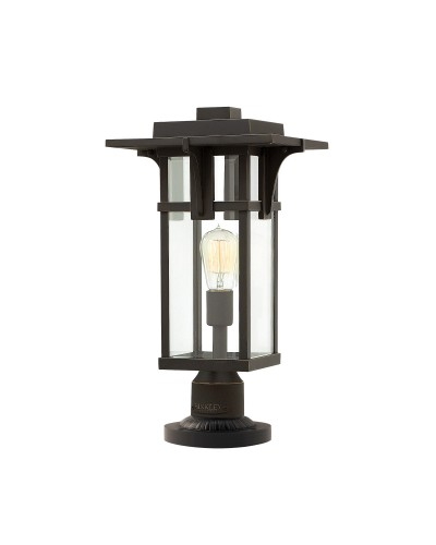 Elstead Lighting Hinkley Manhattan 1 Light Outdoor Pedestal In Oil Rubbed Bronze Finish