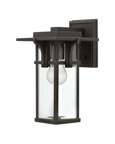 Elstead Lighting Hinkley Manhattan 1 Light Outdoor Small Wall Lantern In Oil Rubbed Bronze Finish