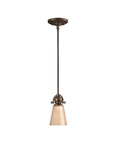 Elstead Lighting Hinkley Mayflower 1 Light Mini Pendant In Olde Bronze Finish With Height Adjustable Rods And Etched Amber Glass Shade