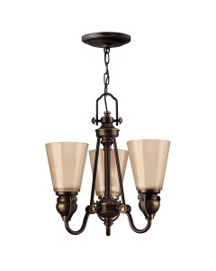 Elstead Lighting Hinkley Mayflower 3 Light Chandelier In Olde Bronze Finish With Etched Amber Glass Shades