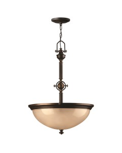 Elstead Lighting Hinkley Mayflower 3 Light Pendant In Olde Bronze Finish With Etched Amber Glass
