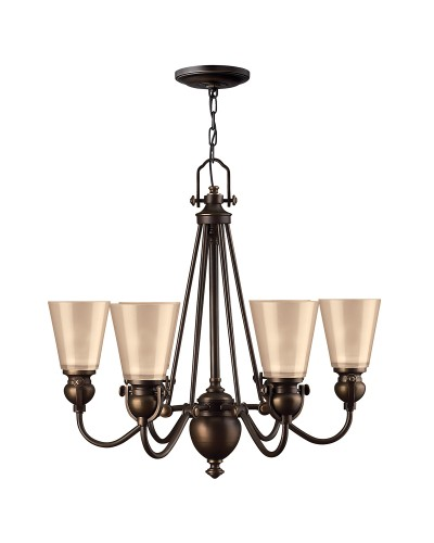 Elstead Lighting Hinkley Mayflower 6 Light Chandelier In Olde Bronze Finish With Etched Amber Glass Shades