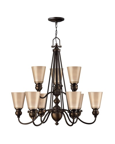 Elstead Lighting Hinkley Mayflower 9 Light Chandelier In Olde Bronze Finish With Etched Amber Glass Shades