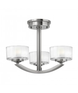 Elstead Lighting Hinkley Meridian 3 Light Semi-Flush Ceiling Light In Brushed Nickel Finish