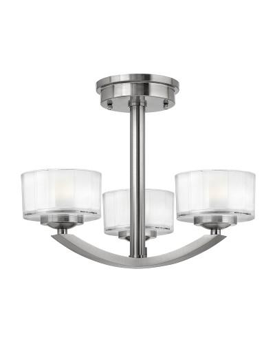 Elstead Lighting Hinkley Meridian 3 Light Semi-Flush Ceiling Light In Brushed Nickel Finish
