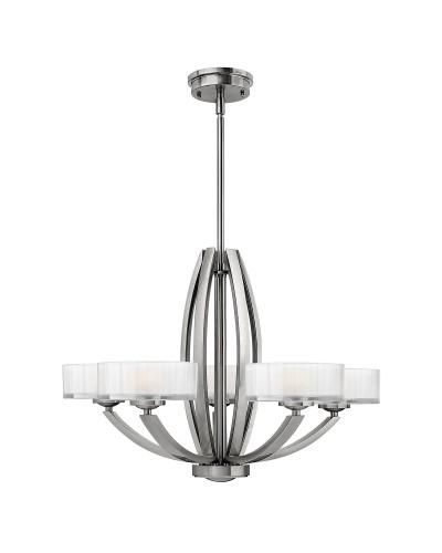 Elstead Lighting Hinkley Meridian 5 Light Chandelier In Brushed Nickel Finish With 3 Height Adjustable Rods