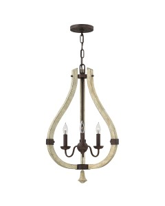 Elstead Lighting Hinkley Middlefield 3 Light Pendant Chandelier In Iron Rust Finish