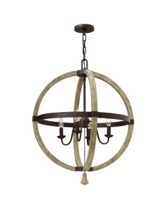 Elstead Lighting Hinkley Middlefield 4 Light Circular Pendant Chandelier In Iron Rust Finish