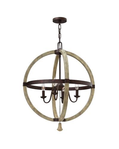 Elstead Lighting Hinkley Middlefield 4 Light Circular Pendant Chandelier In Iron Rust Finish
