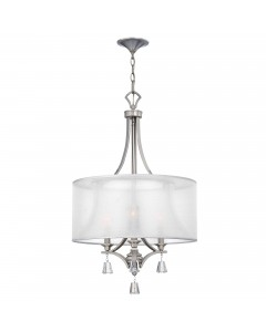 Elstead Lighting Hinkley Mime 3 Light Pendant Chandelier In Brushed Nickel Finish