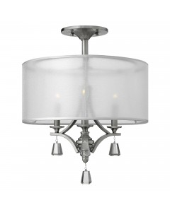Elstead Lighting Hinkley Mime 3 Light Semi-Flush Ceiling Light In Brushed Nickel Finish