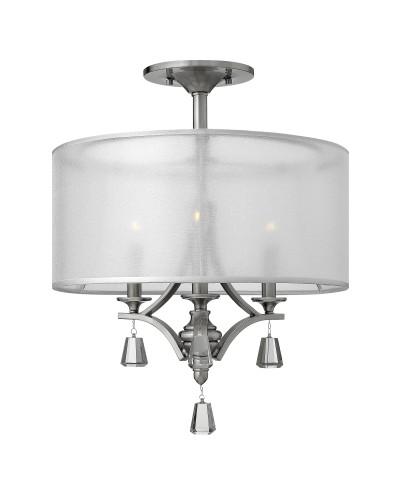 Elstead Lighting Hinkley Mime 3 Light Semi-Flush Ceiling Light In Brushed Nickel Finish