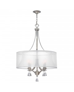 Elstead Lighting Hinkley Mime 4 Light Large Pendant Chandelier In Brushed Nickel Finish