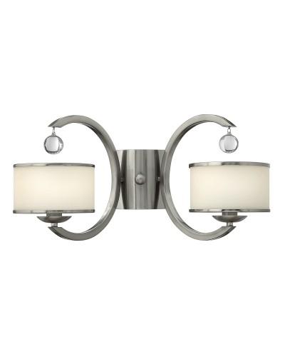Elstead Lighting Hinkley Monaco 2 Light Wall Light In Brushed Nickel Finish