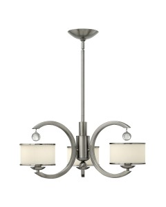Elstead Lighting Hinkley Monaco 3 Light Chandelier In Brushed Nickel Finish With Height Adjustable Rods